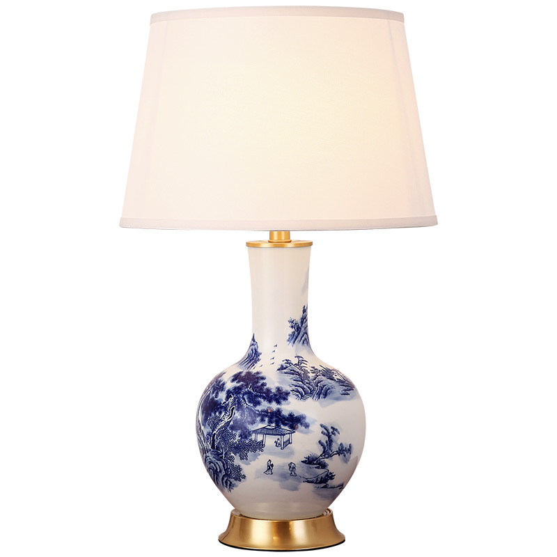 Blue Flower Porcelain table living room decoration lamp ...
