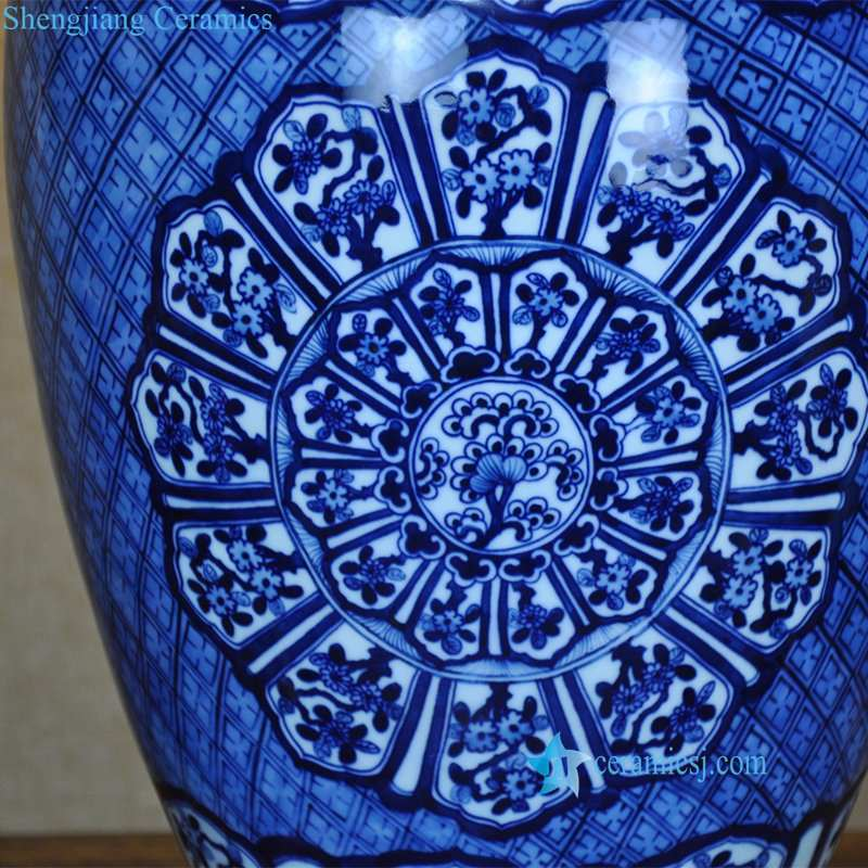 blue and white ceramic lamp with different pattern
