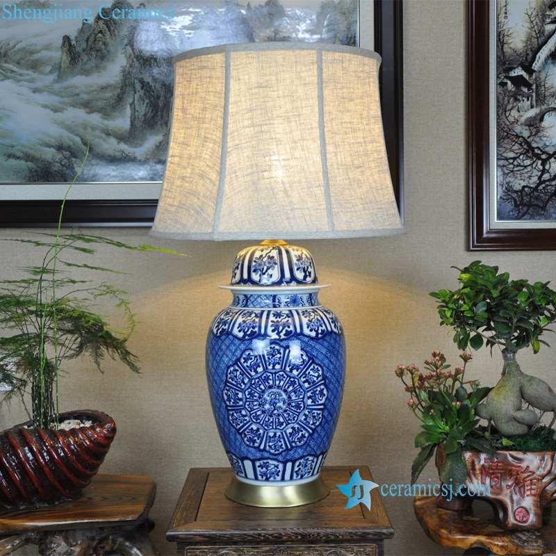 blue and white handmade ceramic lamp