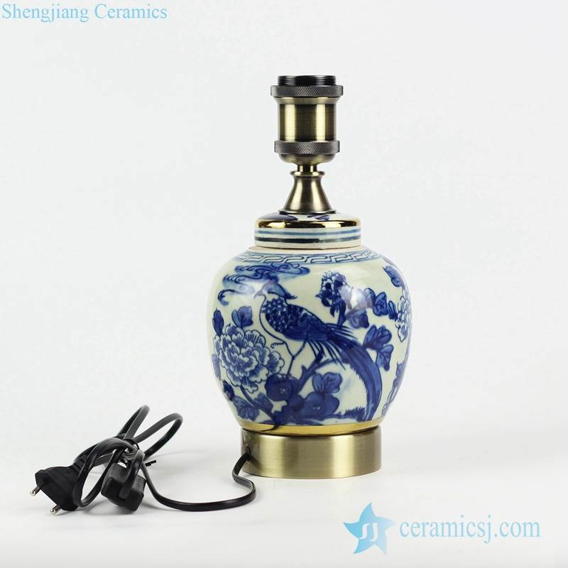 Retailer online distribution blue and white handmade   bird flower  pattern China traditional porcelain lamp