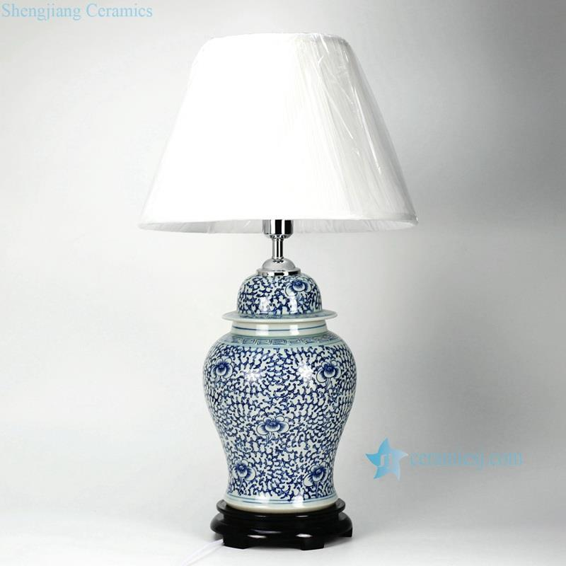 Blue and white handmade interlock lotus branch pattern porcelain  ginger jar lamp