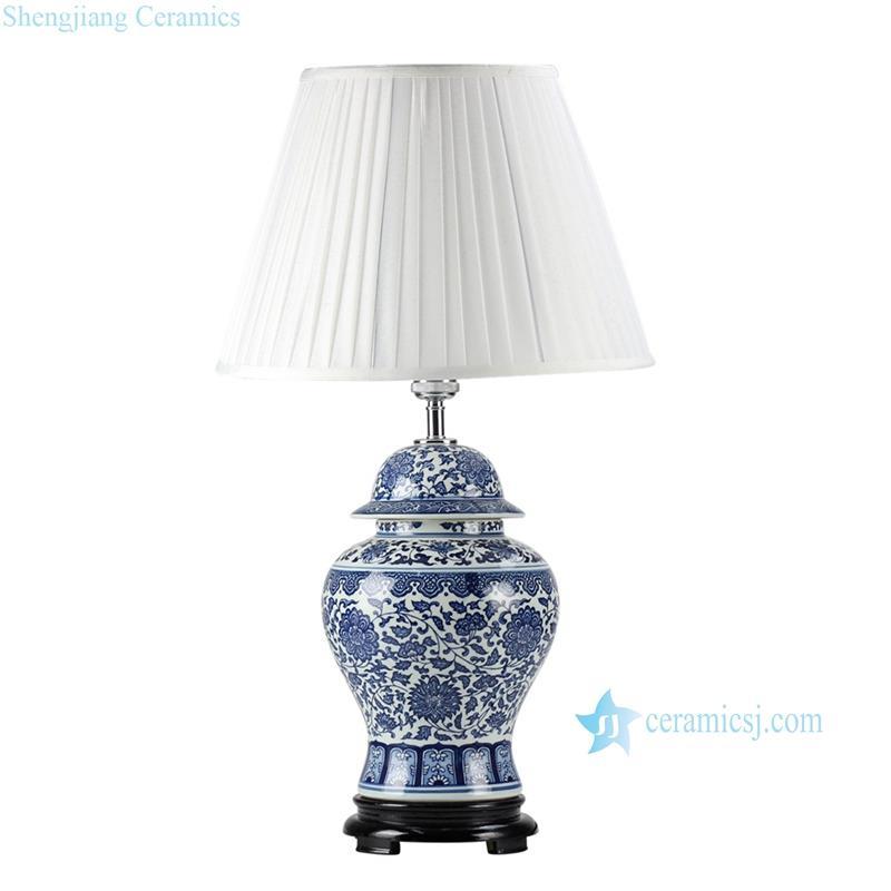 New retail blue white flower pattern porcelain  ginger jar lamp for reading