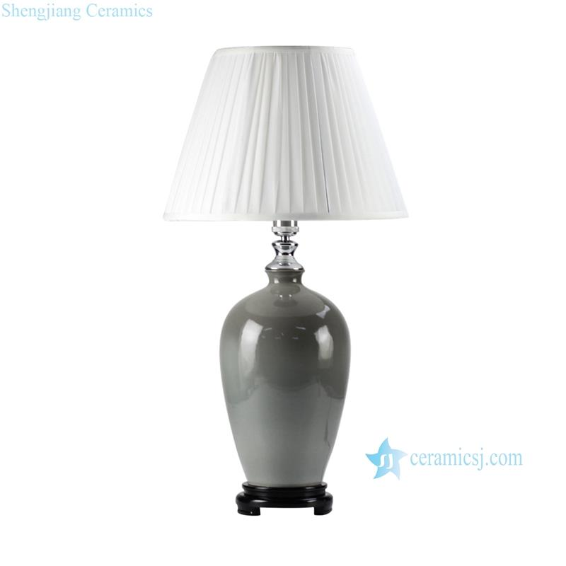 Jingdenzhen chinese produce grey solid color glaze porcelain  modern lamp with wooden base and pleated fabric lamp shade