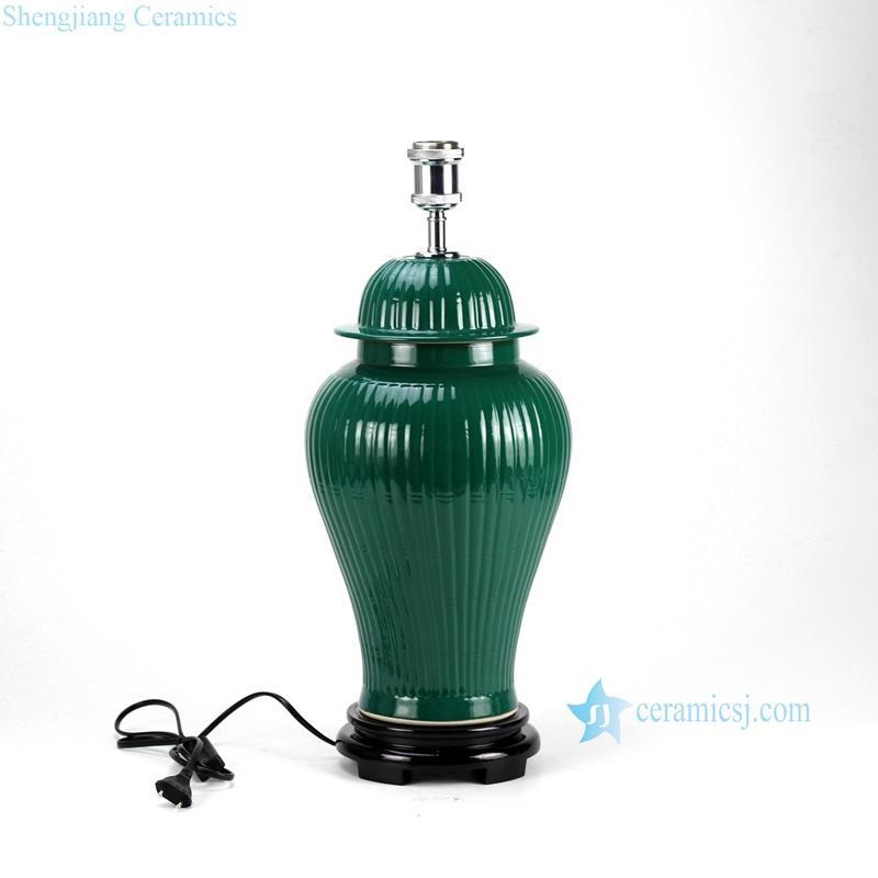Jade glaze bamboo stripe pattern  OEM porcelain  decorative furnishing lamp