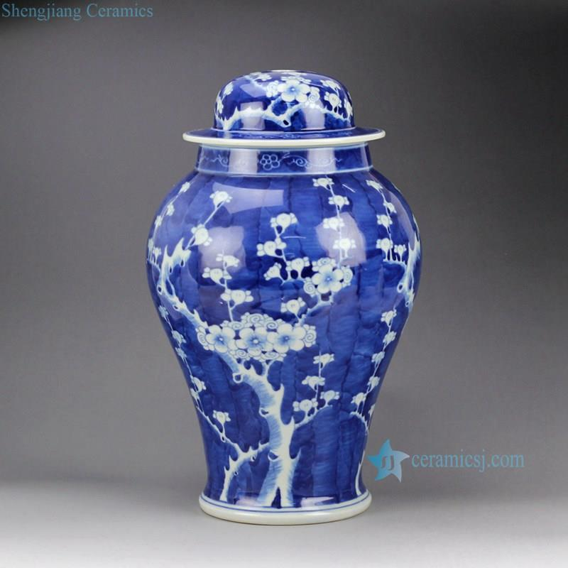 Handmade  blue white porcelain  winter sweet pattern factory outlet small ceramic ginger jar lamps