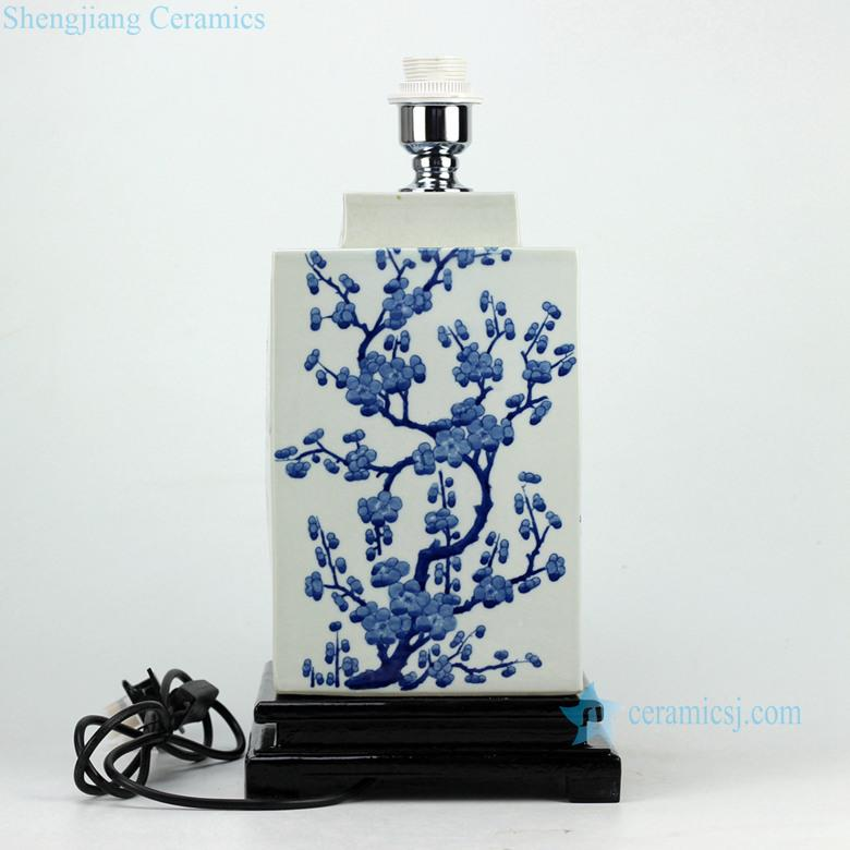 Handmade  winter sweet pattern hot sale blue white porcelain  square jar lamp