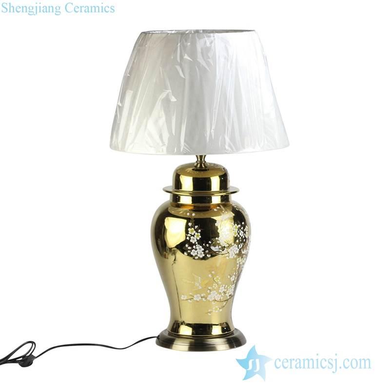 Brass base golden  gilded plum blossom ceramic jar lamp shengjiang company