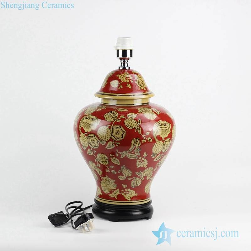 Middle East Fashion red color yellow flower pattern ceramic ginger jar lamp