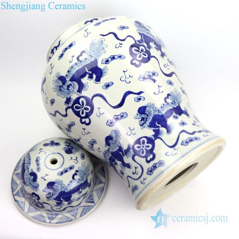 handmade China kylin porcelain table lamp