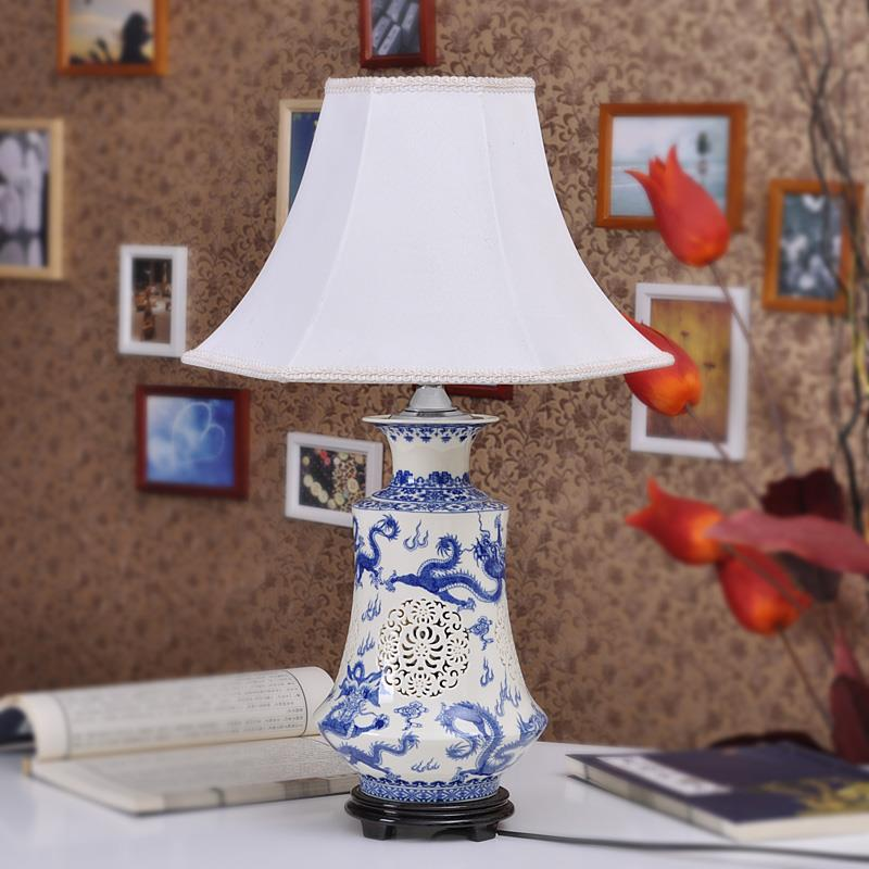 Blue And White Hollow Out Bedside Ceramic Lights