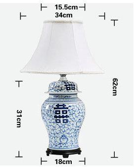 size of  Handmade  Blue and white Happiness Letter  Table Lamp