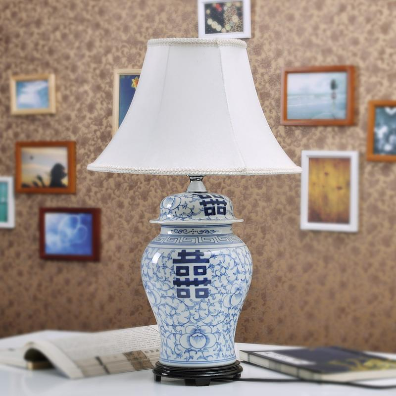 TYLP109 Handmade  Blue and white Happiness Letter  Table Lamp