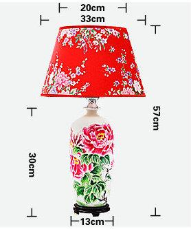 size of Red flower pattern  ceramic  Table Lamp