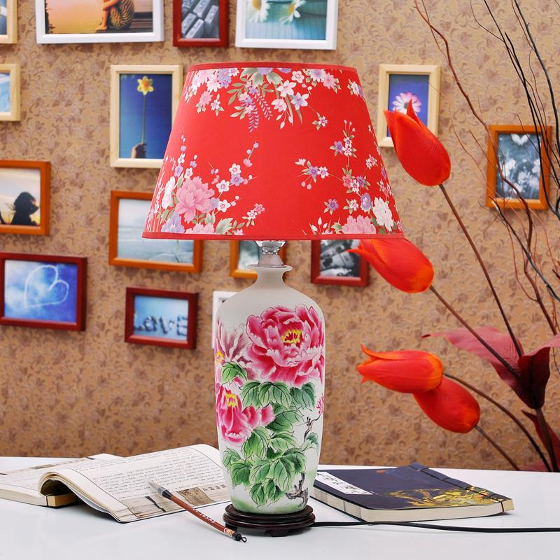 TYLP114Red flower pattern  ceramic  Table Lamp