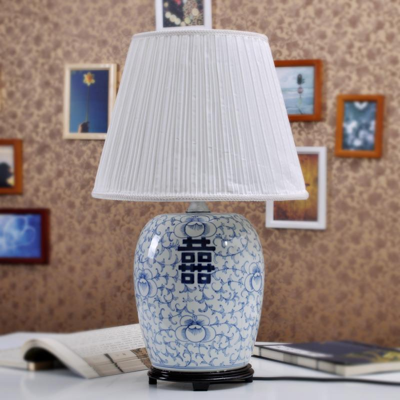 Blue and white Happiness Letter  Melon Jar Table Lamp