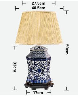 size of China Blue and White Ceramic Lamp