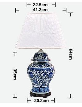 size of China Blue and White Porcelain  Lamp