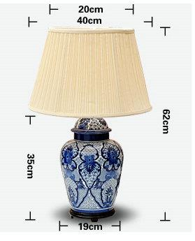 size of China Blue and white Ceramic Table Lamp