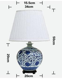 size of Blue And white Table Ceramic Lamp