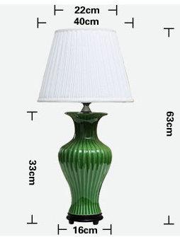 size of Modern Style  Green fishtail Porcelain  Lamp