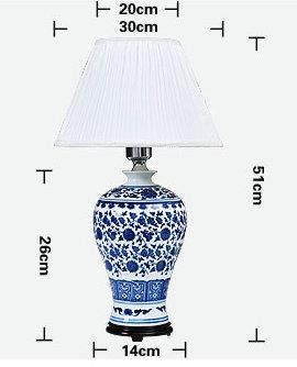 size of Blue and White Meiping Ceramic Lamp