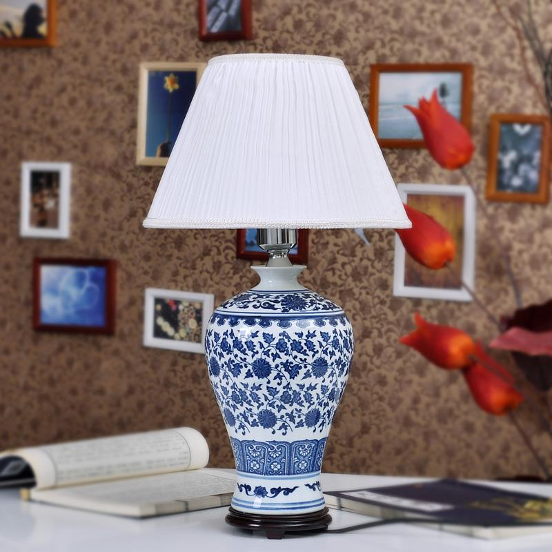 TYLP96Blue and White Meiping Ceramic Lamp