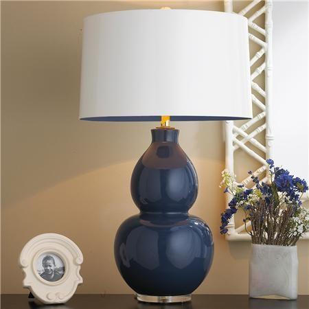 Ceramic Handmade Modern Navy Blue Table Lamps Avada Agency