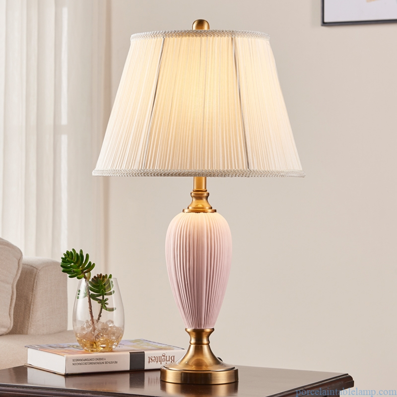 distinctive shape antique fabric decorative porcelain table lamp