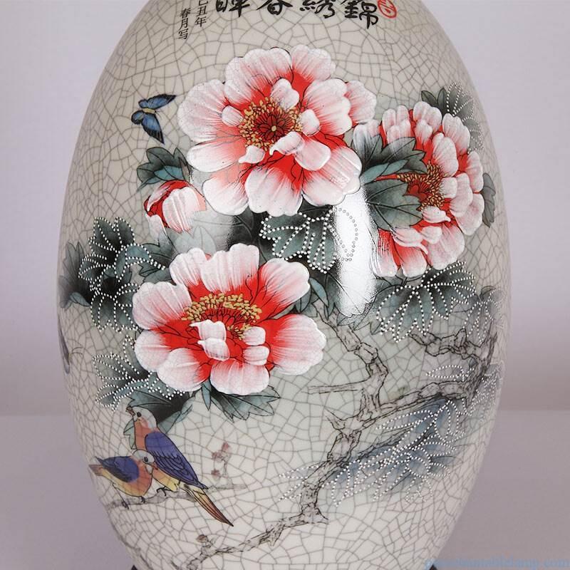 peony flower design crack pattern porcelain table lamp