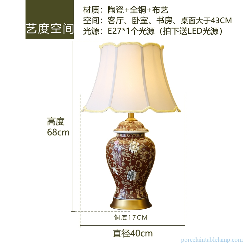 white flower design classical luxury villa decorative copper ceramic table lamp