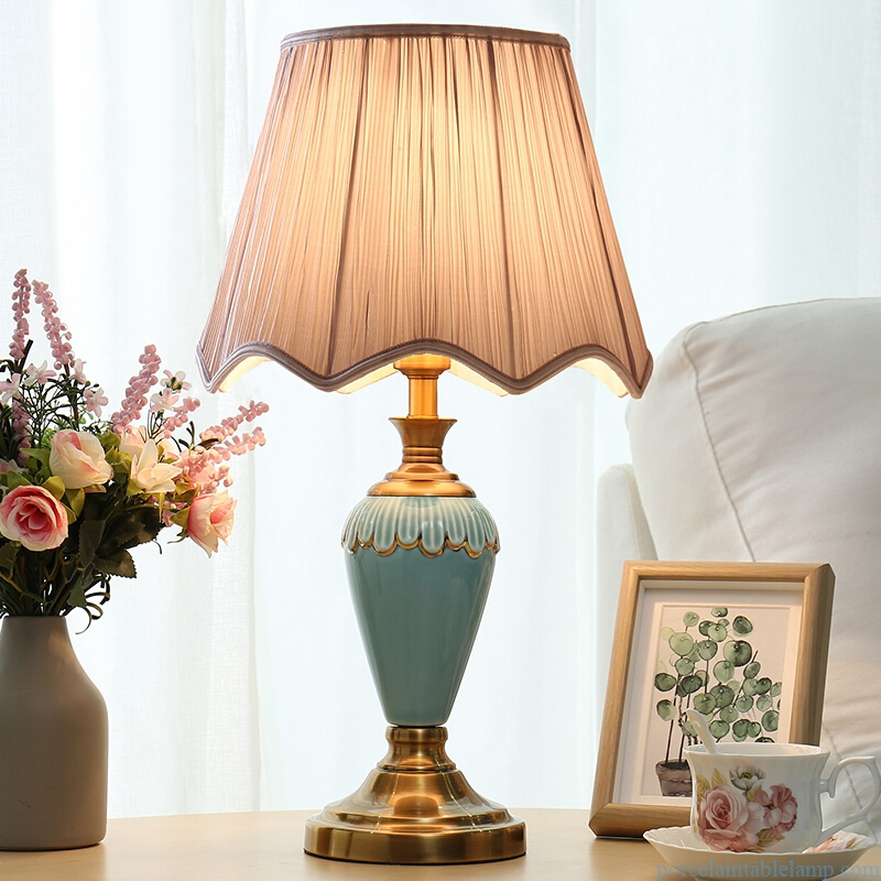 green creative shape purely manual home decorative ceramic table lamp