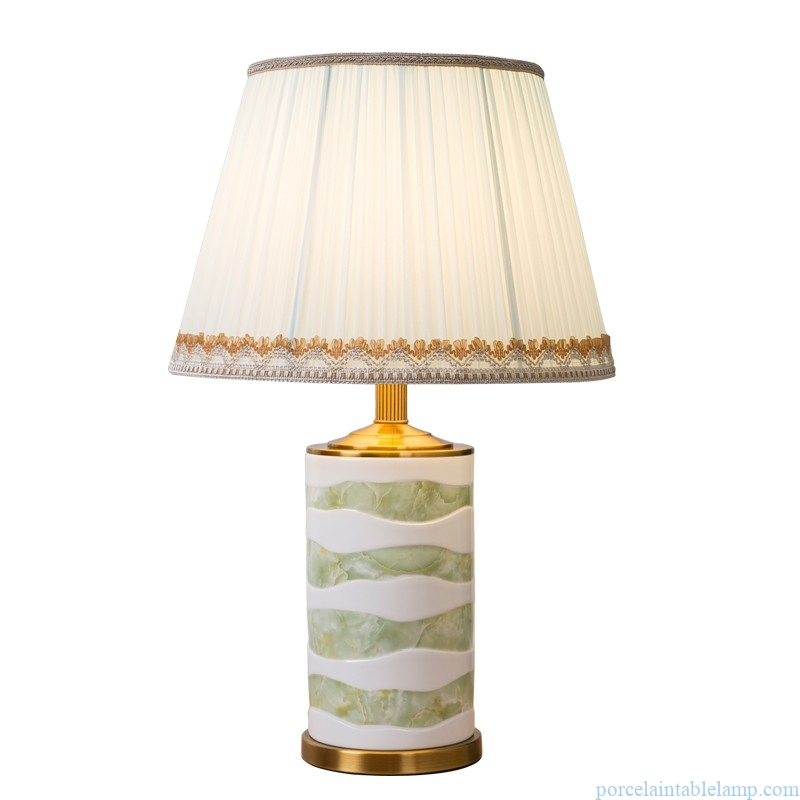 white and green LED bedroom bedside ceramic table lamp
