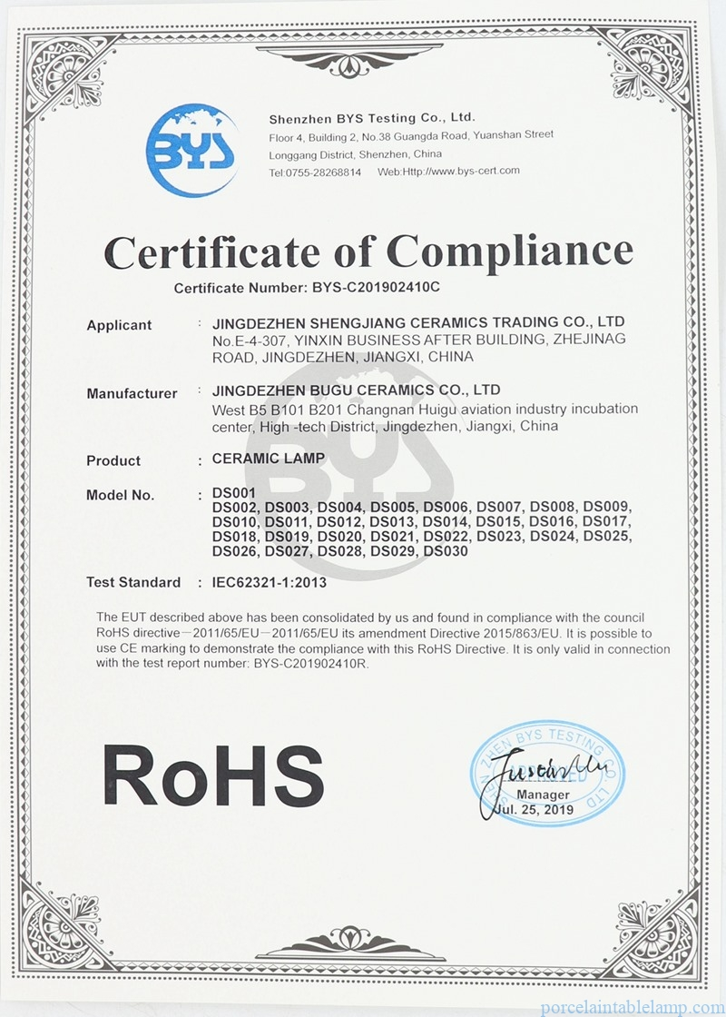 table lamp certification